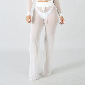 Womens White Mesh Sheer Cover Up Pants